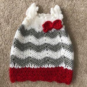 Other - Hand crocheted Scarlett & gray newborn dress